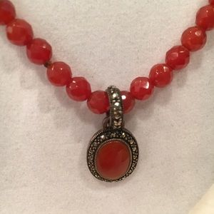 Crystal and Carnelian Pendant & Necklace